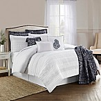 Lara Pleated 10-Piece Full/Queen Comforter Set in Indigo