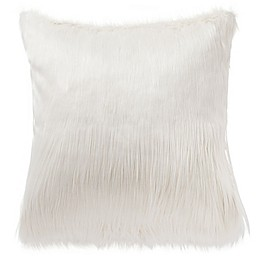 Highline Bedding Co. Driftwood Faux Fur Square Throw Pillow in Ivory