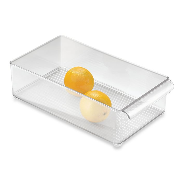 Alternate image 1 for InterDesign® Fridge Binz™ 8-Inch x 15-Inch Stackable Clear Plastic Bin