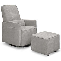 DaVinci Sierra Swivel Glider in Heathered Grey with Gliding Ottoman