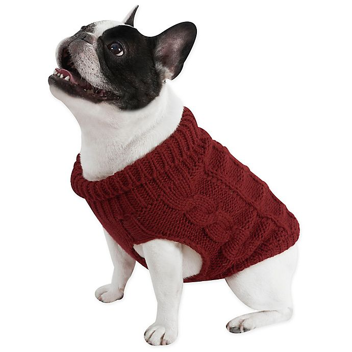 Alternate image 1 for UGG® Pet Cable Knit Sweater in Red