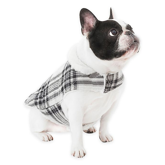 Alternate image 1 for UGG® Dog Plaid Coat in Charcoal