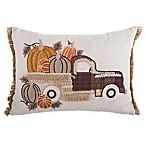 Truck with Pumpkins Rectangular Throw Pillow in Brown