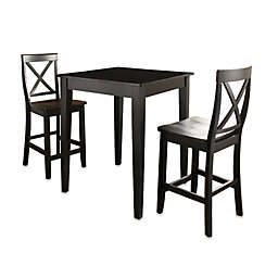Crosley Pub Dining Set with X-Back Stools and Tapered Legs (3-Piece Set) in Black
