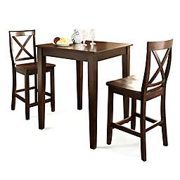 Crosley Pub 3-Piece Dining Set with X-Back Stools and Tapered Legs in Mahogany