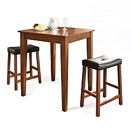 Crosley Tapered Leg Pub Dining Set with Saddle Stools (3-Piece Set)