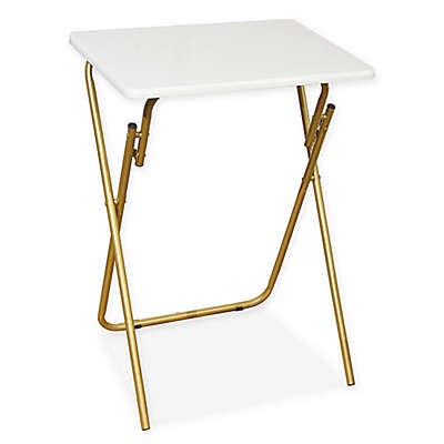 Folding Tray Table in White/Gold