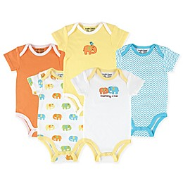 Luvable Friends® 5-Pack Elephant Bodysuits in Yellow