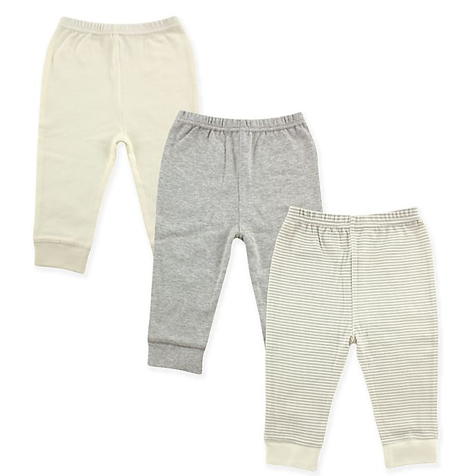 Alternate image 1 for Luvable Friends® 3-Pack Striped Tapered Pants in Grey