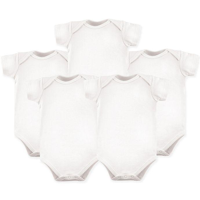 Alternate image 1 for Luvable Friends® 5-Pack Short Sleeve Bodysuits in White