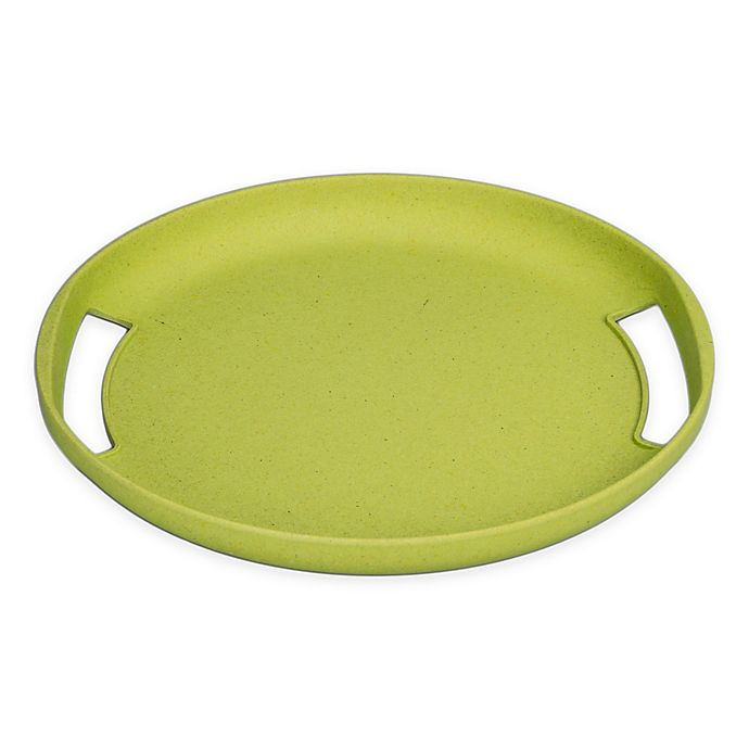 Alternate image 1 for BIA Cordon Bleu BIAmboo Round Serving Tray with Handles in Chartreuse