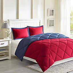 Madison Park Essentials Larkspur Reversible 3M Scotchgard 3-Piece King Comforter Set in Red/Navy