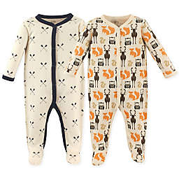 Hudson Baby® Size 0-3M 2-Pack Woodland Sleep & Play Footie