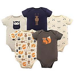 Hudson Baby® 5-Pack Woodland Bodysuits in Beige