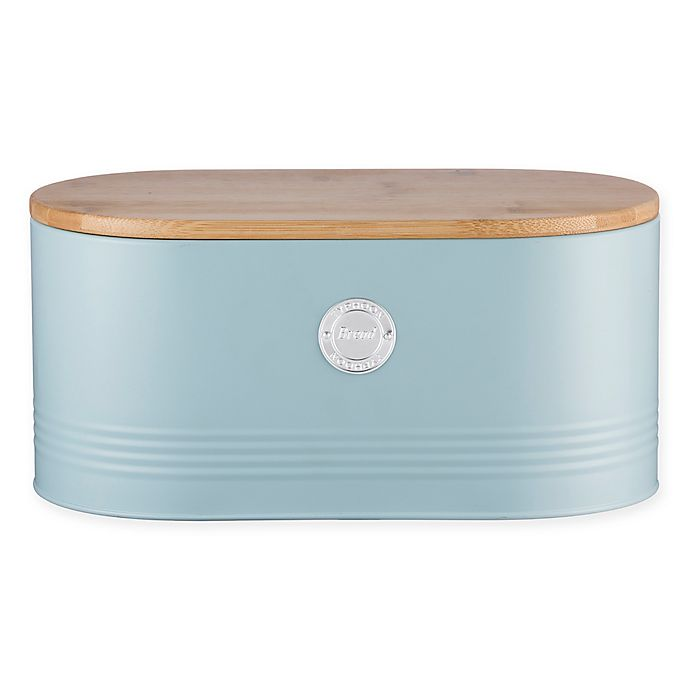 Alternate image 1 for Typhoon® Living Storage Tin Bread Bin in Blue with Bamboo Lid in Blue