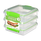 Sistema® Fresh™ Sandwich Box in Green (Set of 3)