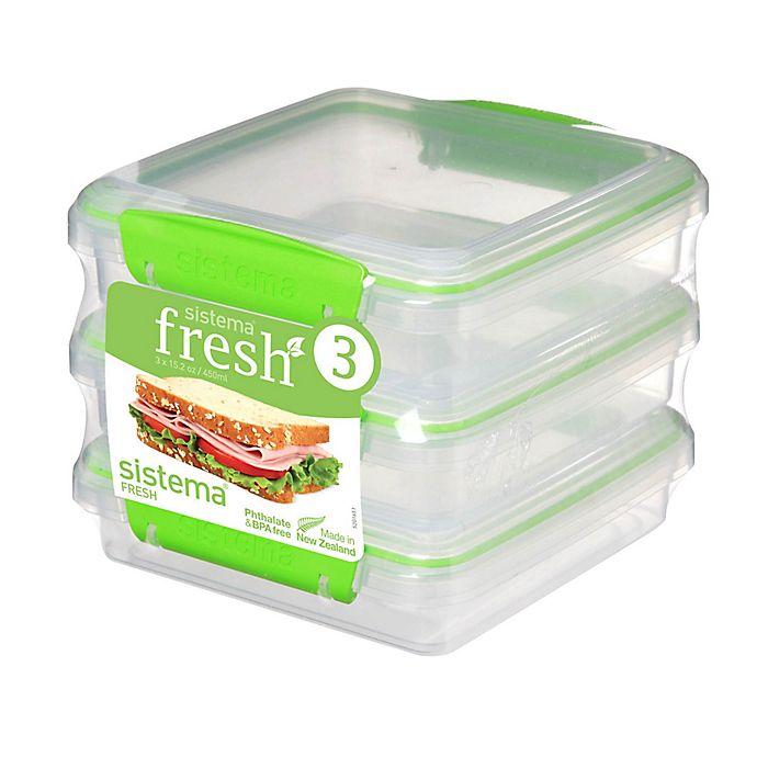 Alternate image 1 for Sistema® Fresh™ Sandwich Box in Green (Set of 3)