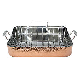 Fleischer & Wolf® Seville Hammered Copper Roaster with Rack