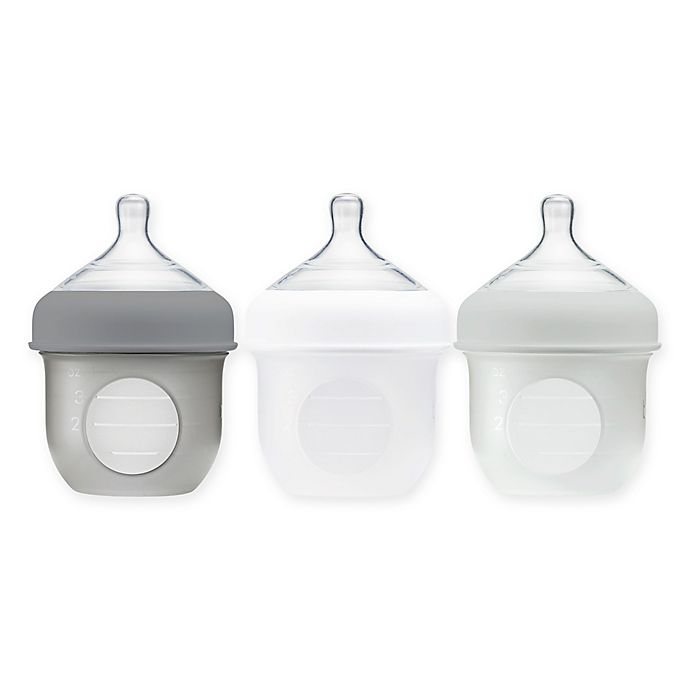 Alternate image 1 for Boon NURSH™ 3-Pack Silicone Pouch Bottle in Grey