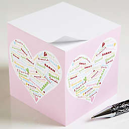 Her Heart of Love Paper Note Cube in Pink