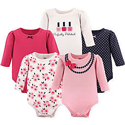 Little Treasure 5-Pack Long Sleeve Bodysuits in Pink