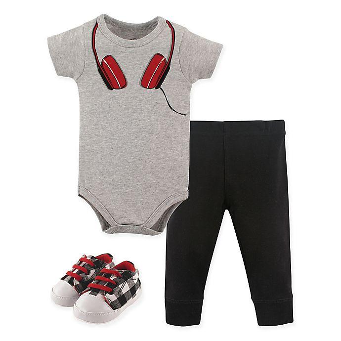 Alternate image 1 for Little Treasure Headphone Bodysuit, Pant, and Shoe Set