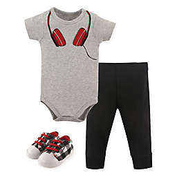 Little Treasure Size 9-12M Headphone Bodysuit, Pant, and Shoe Set