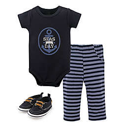 Little Treasure Nautical 3-Piece Short Sleeve Bodysuit, Pant and Shoe Set in Blue