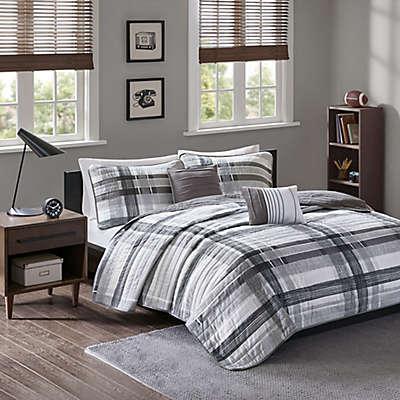 Intelligent Design Rudy Plaid Printed Coverlet Bedding Set in Black/Grey