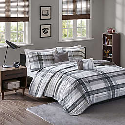Intelligent Design Rudy Plaid Printed Coverlet Bedding Set in Black/Grey
