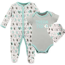 Luvable Friends® Elephant Sleep n' Play, Bodysuit, and Bandana Set in Grey