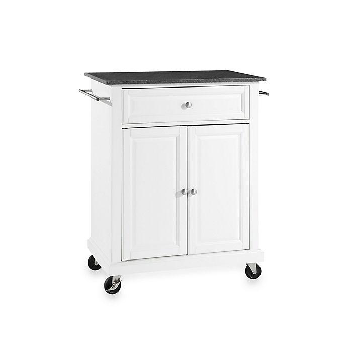 Crosley Black Granite Top Rolling Portable Kitchen Cart Island In White