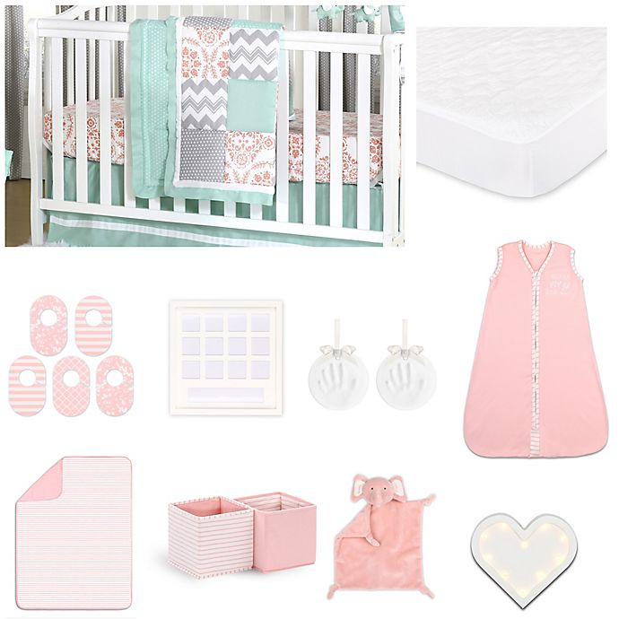 Alternate image 1 for The Peanut Shell™ Medallions Crib Bedding Collection in Coral