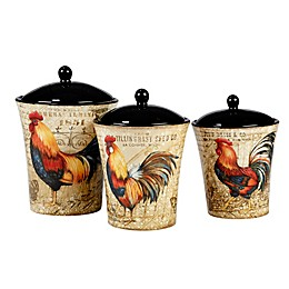 Certified International Gilded Rooster 3-Piece Cannister Set