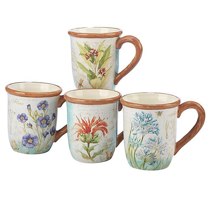 Alternate image 1 for Certified International Herb Blossoms Mugs (Set of 4)