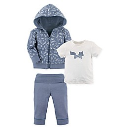 Yoga Sprout Size 3-Piece Clever Fox Hoodie, T-Shirt, and Pant Set in Light Blue