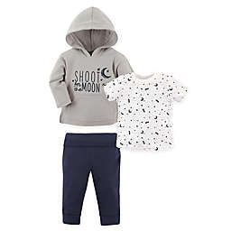 Yoga Sprout® 4T 3-Piece Moon Hoodie, T-Shirt, and Pant Set in Grey/White
