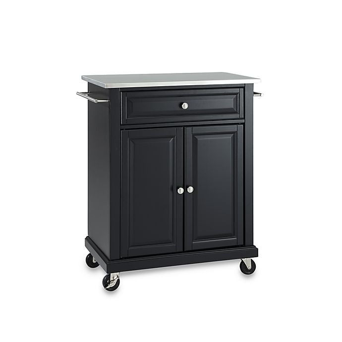 Alternate image 1 for Crosley Stainless Top Rolling Portable Kitchen Cart/Island