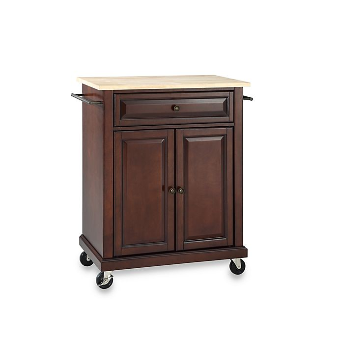 Alternate image 1 for Crosley Natural Wood Top Portable Kitchen Rolling Cart/Island in Mahogany