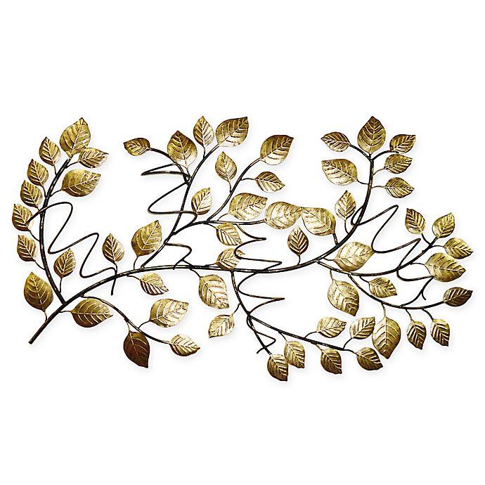 Alternate image 1 for Tree Leaf 4-Bottle Hanging Wine Rack in Gold