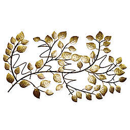 Tree Leaf 4-Bottle Hanging Wine Rack in Gold