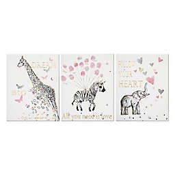 Juvi Girl 3-Piece 33-Inch x 14-Inch Wall Art Set in Pink