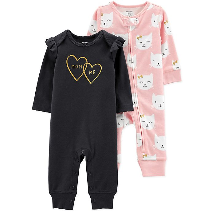 Alternate image 1 for carter's® 2-Pack Kitty Coveralls in Pink/Black