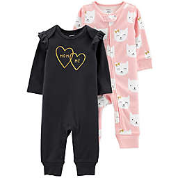 carter's® 2-Pack Kitty Coveralls in Pink/Black