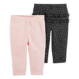 carter's® 2-Pack Pull-On Pants in Pink/Black