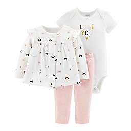 carter's® 3-Piece Kitty Cardigan, Pant and Bodysuit Set in Pink