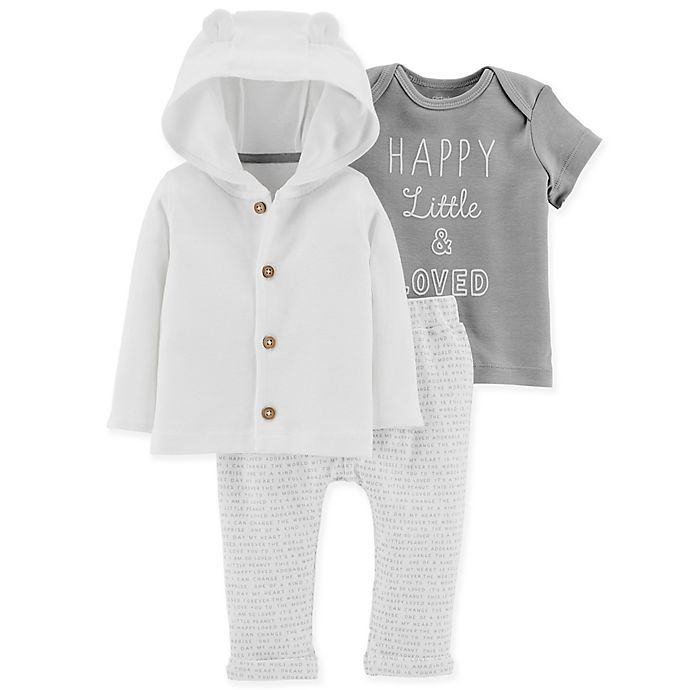 Alternate image 1 for carter's® 3-Piece Little Loved Hooded Cardigan, Pant and Shirt Set in Grey