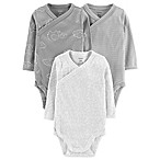 carter's® Newborn 3-Pack Elephant Clouds Long Sleeve Bodysuits in Grey