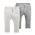 carter's® Newborn 2-Pack Elephant Clouds Pull-On Pants in Grey