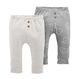 carter's® 2-Pack Elephant Clouds Pull-On Pants in Grey